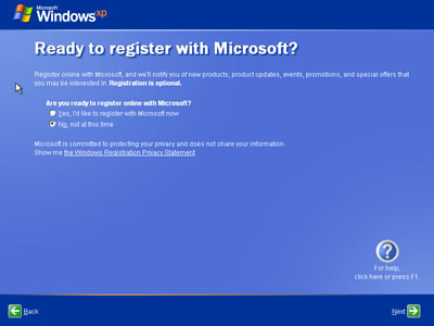 You can always Register Windows XP later! I want to keep this install ...